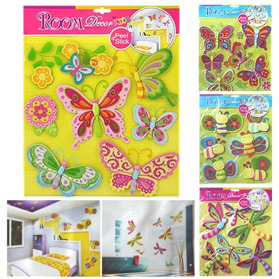 Kamer decoratie 3d wand sticker set kind