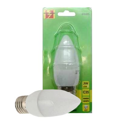 Led kaarslamp C35 3 Watt E27 warm wit