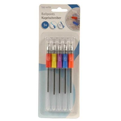 Balpen transparant colors softgrip Topwrite 5 st.