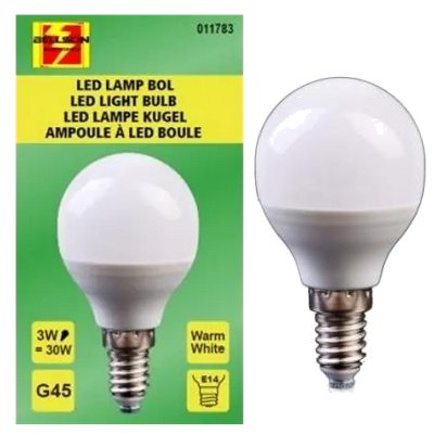 Led kogellamp G45 3 Watt E14 warm wit