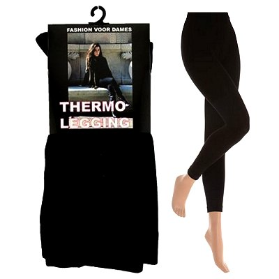 Damen Thermo Leggings Schwarz L-XL