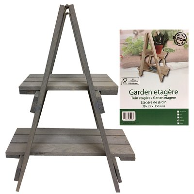 Tuin bloempot etagere hout 2 laags Greywash 52 cm
